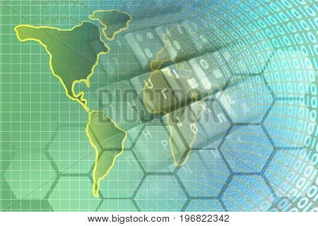 Map and digits - abstract computer background.