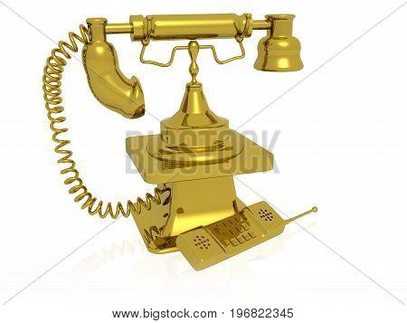 Retro and modern phones on white background 3D illustration.