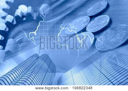 Business background in blues with money map and buildings.