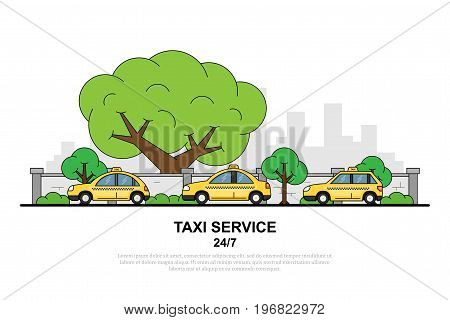 picture of taxi car in front of city silhouette, taxi service concept banner, flat style illustration