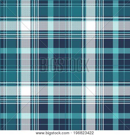 Blue pixel check tartan seamless fabric texture. Vector illustration.