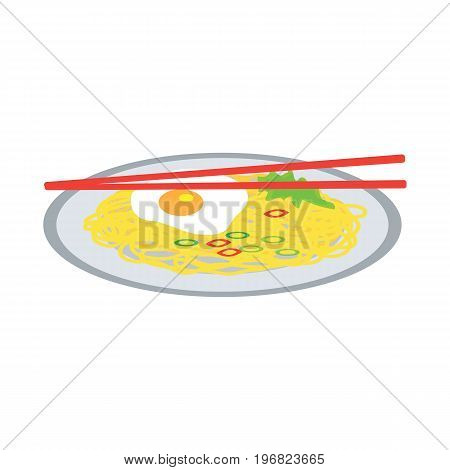 instant noodles on a plate with fried egg. vector illustration