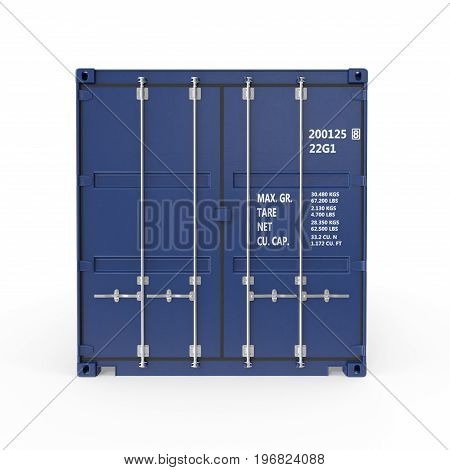 Blue freight shipping container isolated on white background. Front view. 3D illustration, clipping path