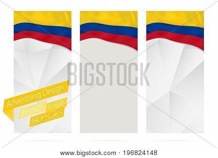 Design Of Banners, Flyers, Brochures With Flag Of Colombia.
