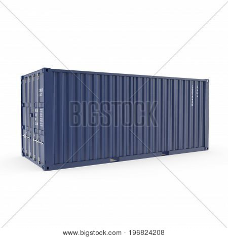 Blue freight shipping container isolated on white background. 3D illustration, clipping path