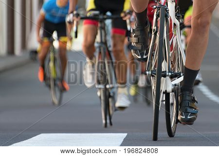 Cycling competition,cyclist athletes riding a urban race