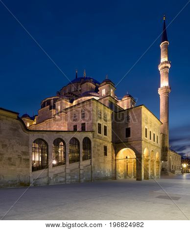 Istanbul, Turkey - April 21, 2017: Night shot of Fatih Mosque, an an Ottoman imperial mosque located on Fatih district