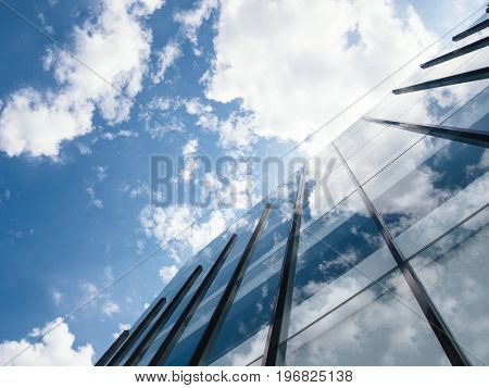 Modern Building Architecture with blue sky and clouds Business conceptual