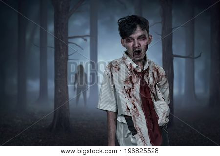 Scary Two Asian Zombies With Wounded Face