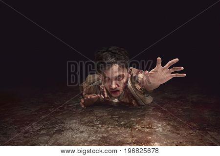 Scary Asian Zombie Man Crawling