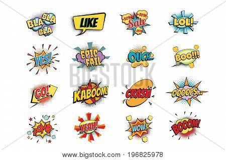 set of colorful comic speech bubbles shape. Pop art retro vector illustration