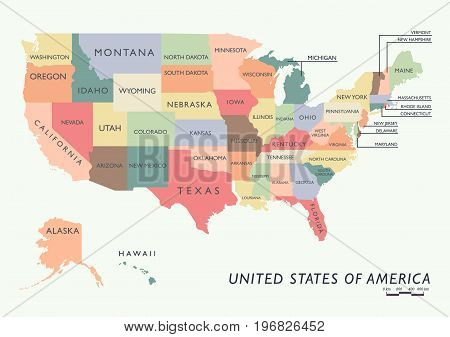 Colorful USA map with name of states. Vector illustration
