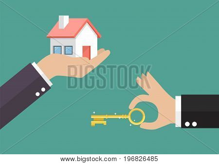 Hands with house and hands with key. Vector illustration