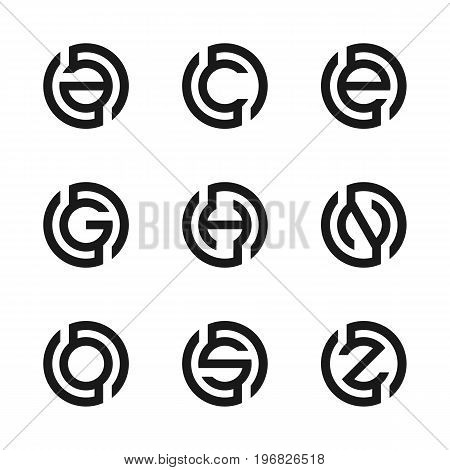 Letter A, C, E, G, H, N, O, S, Z vector illustration of abstract logo design. Set of modern letter. Business logo. Fashion Label, web logo icons, technology logo icons. Vector illustration EPS.8 EPS.10