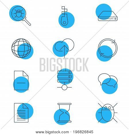 Editable Pack Of Refresh, Fastener, Sandglass Elements.  Vector Illustration Of 12 Internet Icons.