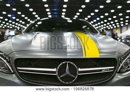 Sankt-Petersburg Russia July 21 2017: Front view of a Mercedes Benz C 63s coupe. Car exterior details. Photo Taken on Royal Auto Show July 21