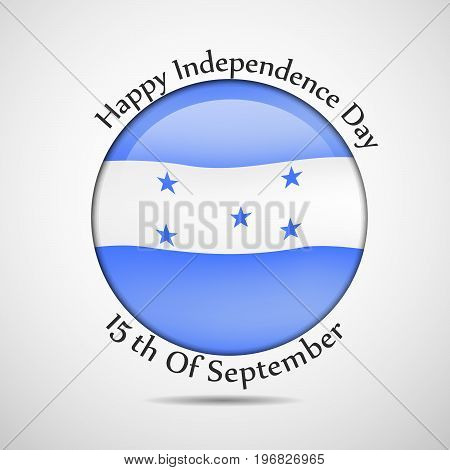illustration of button in Honduras flag background with Happy Independence day text on the occasion of Honduras Independence Day