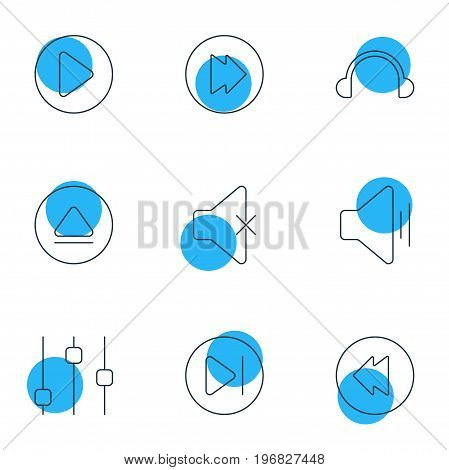 Editable Pack Of Advanced, Start, Soundless And Other Elements.  Vector Illustration Of 9 Melody Icons.