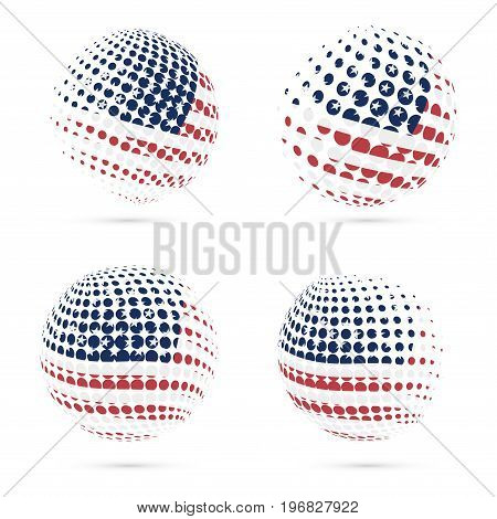 Usa Halftone Flag Set Patriotic Vector Design. 3D Halftone Sphere In Usa National Flag Colors Isolat