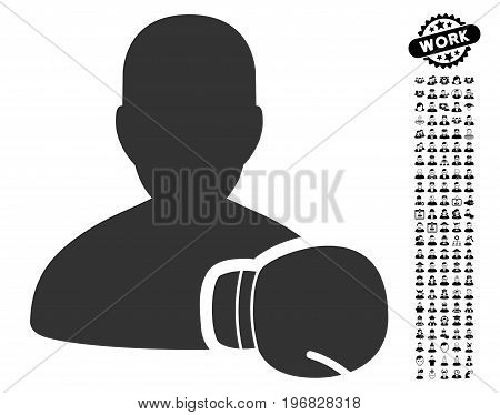 Boxing Sportsman icon with black bonus job pictures. Boxing Sportsman vector illustration style is a flat gray iconic symbol for web design app user interfaces.