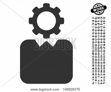 Bureaucrat icon with black bonus men icon set. Bureaucrat vector illustration style is a flat gray iconic element for web design app user interfaces.
