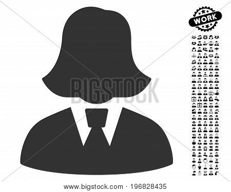 Business Lady icon with black bonus profession pictures. Business Lady vector illustration style is a flat gray iconic element for web design app user interfaces.