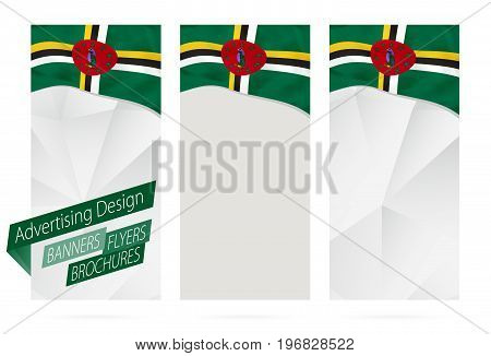 Design Of Banners, Flyers, Brochures With Flag Of Dominica.