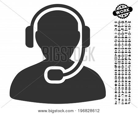 Call Center Worker icon with black bonus work design elements. Call Center Worker vector illustration style is a flat gray iconic symbol for web design app user interfaces.