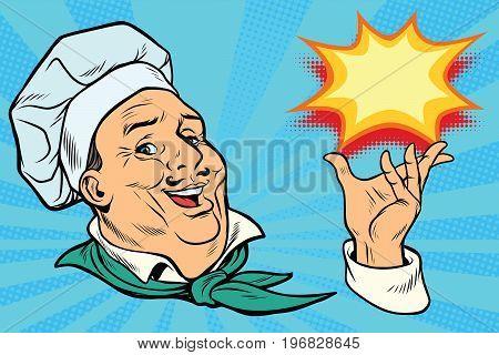 chef holding hand gesture. Pop art retro comic book vector illustration
