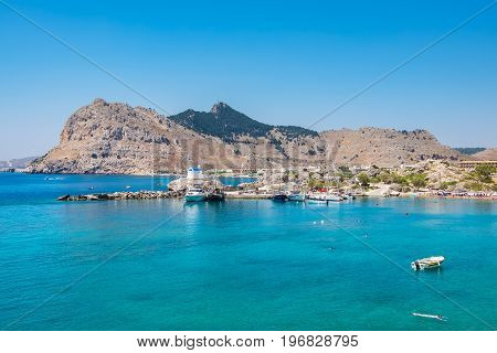 View of Kolymbia bay and coast. Rhodes Dodecanese Islands Greece