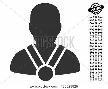 Champion icon with black bonus job graphic icons. Champion vector illustration style is a flat gray iconic symbol for web design app user interfaces.