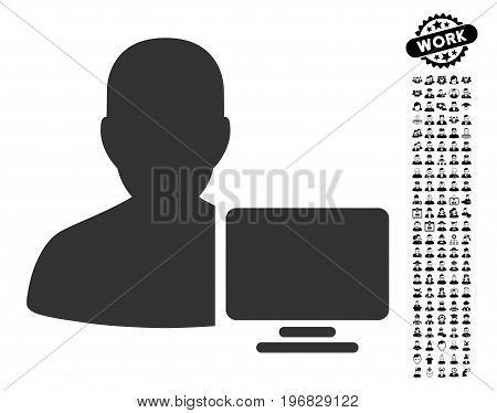 Computer Administrator icon with black bonus men pictures. Computer Administrator vector illustration style is a flat gray iconic symbol for web design app user interfaces.