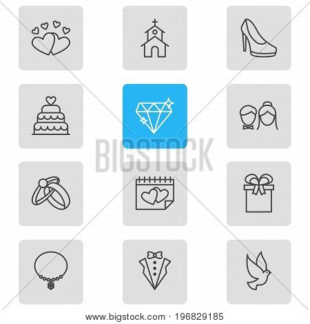 Editable Pack Of Patisserie, Bridegroom Dress, Present And Other Elements.  Vector Illustration Of 12 Engagement Icons.