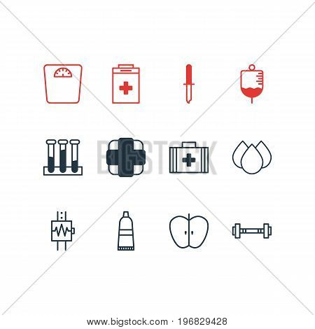 Editable Pack Of Weighing, Antibody, Exigency And Other Elements.  Vector Illustration Of 12 Medical Icons.