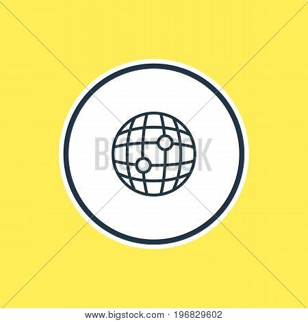 Beautiful Location Element Also Can Be Used As World Element.  Vector Illustration Of Globe Outline.