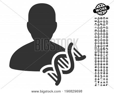 Geneticist DNA icon with black bonus professional graphic icons. Geneticist DNA vector illustration style is a flat gray iconic element for web design app user interfaces.