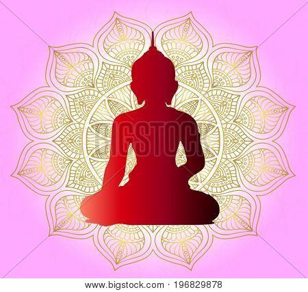 Buddha and prayer. Beautiful mandala on a gentle pink background. Religion is Buddhism. Indian style.