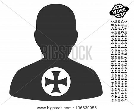 Hero Medal icon with black bonus job pictograph collection. Hero Medal vector illustration style is a flat gray iconic element for web design app user interfaces.