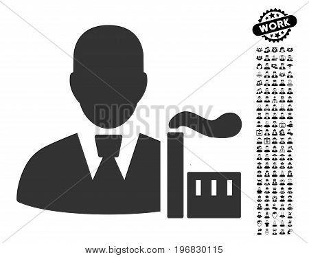 Industry Capitalist icon with black bonus work pictograms. Industry Capitalist vector illustration style is a flat gray iconic symbol for web design app user interfaces.