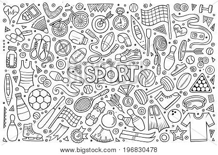 Line art vector hand drawn doodle cartoon set of Sport objects and symbols