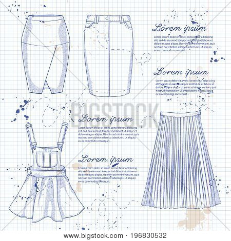 Set of woman casual skirts and overall dress. Simple flat vector illustration on a notebook page