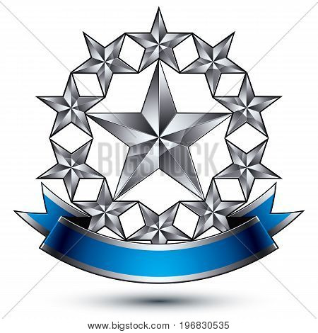 Renown vector silver star emblem with wavy ribbon 3d sophisticated pentagonal design element clear EPS 8.