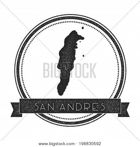 San Andres Map Stamp. Retro Distressed Insignia. Hipster Round Badge With Text Banner. Island Vector