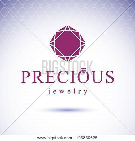 Vector glossy gemstone design element. Faceted jewelry sign emblem. Brilliant diamond illustration.