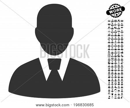 Manager icon with black bonus professional images. Manager vector illustration style is a flat gray iconic element for web design app user interfaces.
