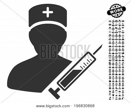 Medic icon with black bonus work pictures. Medic vector illustration style is a flat gray iconic symbol for web design app user interfaces.