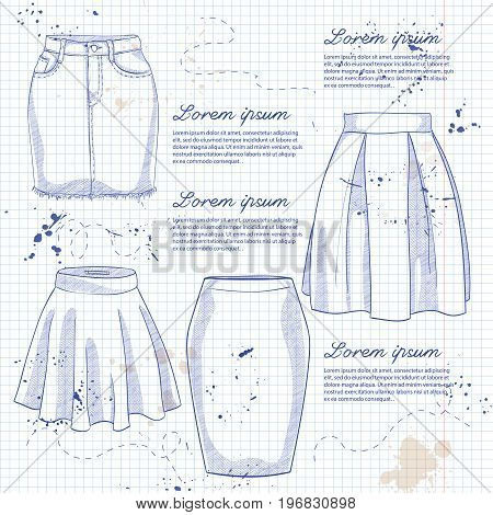 Set of woman casual skirts. Simple flat vector illustration on a notebook page