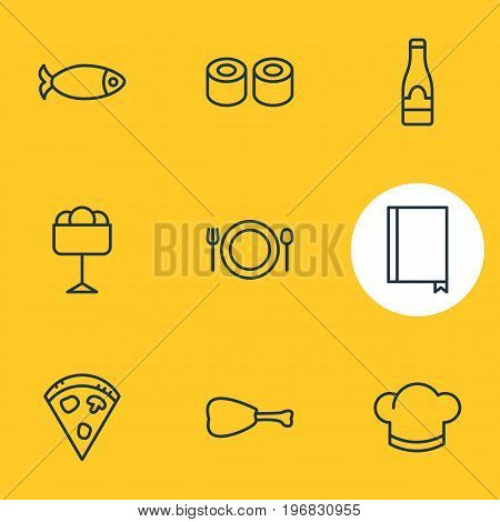 Editable Pack Of Book, Pepperoni, Sundae And Other Elements.  Vector Illustration Of 9 Cafe Icons.