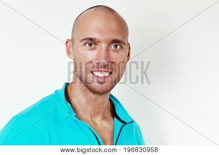 headshot portrait of handsome sporty man wearing sport jacket