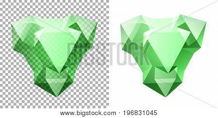 Vector transparent complex geometric shape based on tetrahedron. Green